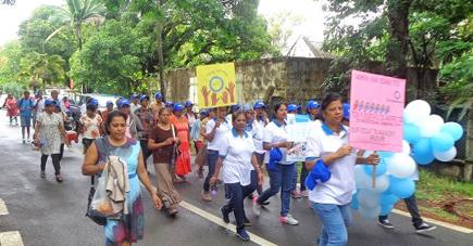 Le personnel de l'hôpital de Souillac, des ONG et des habitants de la localité, entre autres, ont marché pour lutter contre le diabète.