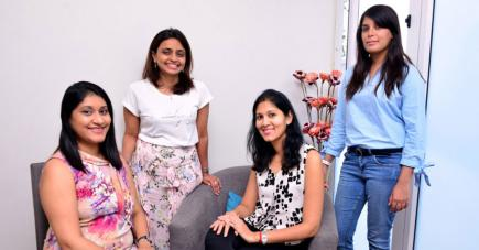 Smeeta, Farzaana, Mallika et Keshini  la petite équipe d'Early Start Diagnosis & Therapy Centre.