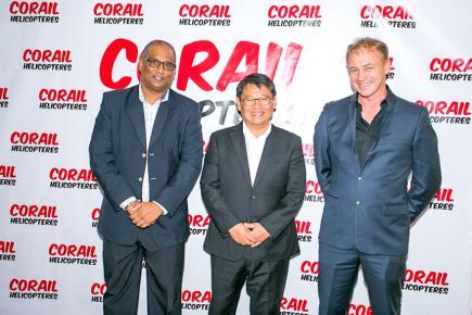 Megan Veerasamy, directeur de Corail Hélicoptères à Maurice, Alfred Chane Pane et Fabrice Lourme.
