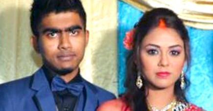 Le couple à l'occasion de son mariage.