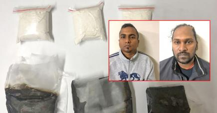Andish Drepaul (à gauche), dénoncé par Sankaran Nallan (à droite), nie être le propriétaire des drogues saisies.