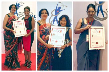 Shamima Patel-Teeluck, Rani Balloo et Norina  Sookmoulla font honneur au pays.