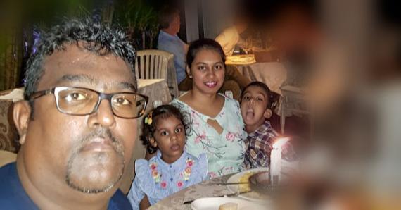 Hatish Sookunah avec son épouse et ses jumeaux Soonakshi et Soudhanshu, il y a quelque temps.