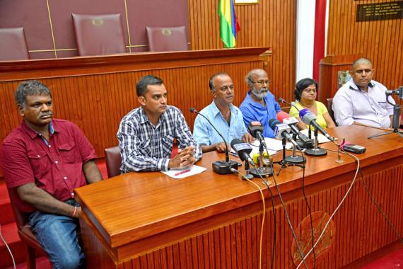 Des membres de la régionale nº4 lors de la conférence de presse polémique.