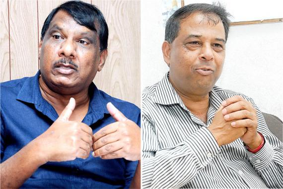 Suttyhudeo Tengur, président de la Government Hindi Teachers Union, et Vinod Seegum, de la Government Teachers Union