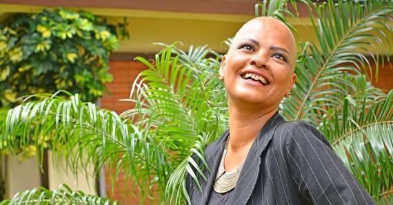 La jeune femme, qui est en traitement à l'hôpital de Candos, s'efforce de rester positive dans son combat contre la maladie.