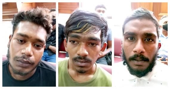 Les trois suspects arrêtés par la police.