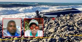 Le Sealuck, un hors-bord mauricien, s'est échoué sur une plage de galets, à La Réunion. Ci-contre: les deux skippers portés disparus et soupçonnés d'avoir fait la traversée entre les deux îles sur cette embarcation.