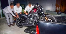 Cette Harley Davidson est soupçonnée d'avoir été achetée avec de l'argent qui proviendrait du trafic de drogue.