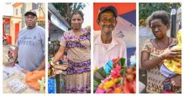 Dominique, Cathy, Claude et Angela racontent comment ils gagnent leur vie en vendant des objets sur le chemin menant au caveau du Père Laval.