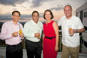 Eric Hufouye, Marine & Aviation Sales Manager, Ashvin Ramdenee, Engineering Manager, Nancy Young, HR Manager, Patrick Richard,  IT Project Manager, tous de Vivo Energy Mauritius Limited.