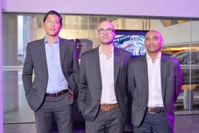 Eric Ho, Sales Consultant, Romain Baiutti, Marketing Executive, Eric Marion, Assistant Operations Manager, tous de Porsche Centre Mauritius.