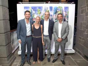 Sébastien de Robillard, Sales Manager chez Espral, Sophie Maingard Lagesse, experte en branding, Hugues Lagesse, manager chez GML Immobilier, et Stéphane Dadoune, Resorts Manager at Heritage Villas Group.