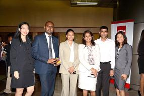 Joelle Wong Hing Nang, Treasurer and Credit Controller de Vivo Energy Mauritius Limited, Anishley Noruthun, Education Manager de l'ACCA Mauritius, Madhavi Ramdin-Clark, Varsha Bishundat, Yousouf Hansye et Hema Pawan, tous membres de l'ACCA Mauritius Network Panel.