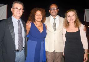 Philippe Mignard, PDG d'Otes, Daniella Rome de Radio 1 et son époux Gilbert Rome, et Marina Mignard, enseignante.