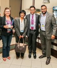 Sylvie Moonsamy, juge de la conférence Toastmasters Clubs 2016, Padmini Lareine, membre, Dev Chooramun, président, et Akshay Seewooruthun, membre, tous du Financial Toastmasters Club.