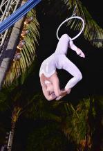 Une trapéziste livrant un show d'acrobatie à vous couper le souffle.