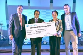 Coup de coeur du jury : Ajay Beegun, Chief Operating Officer, Barclays Bank Mauritius Limited, le ministre Soomilduth Bholah, Shakuntala Jugmohun, présidente de l'ONG Friends in Hope, et David Martial, vice-président de Friends in Hope.