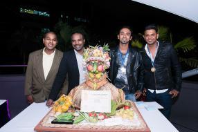 L'équipe de Shandrani Resort and Spa, gagnantes du concours pièces artistiques : Patrick Marius, Chef Ramon, Vishram Bhivah et Dinesh Toolsy.