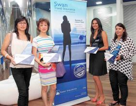 Suzy Chan d'Holiday Planners, Benjamine Li, directrice  d'Holiday Planners, Vanessa Yagambrum d'Holiday Planners et Sareena Nunhuck, responsable d'agence chez Holiday Planners.