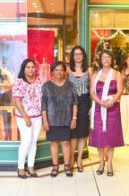 Priscille Dorasamy, Purchasing Clerk, Nathalie Cythérée, Purchasing Clerk, Marie-France Perrine, vendeuse, et Rosemay Allete, responsable de magasin, toutes employés chez Monoprix à Curepipe.