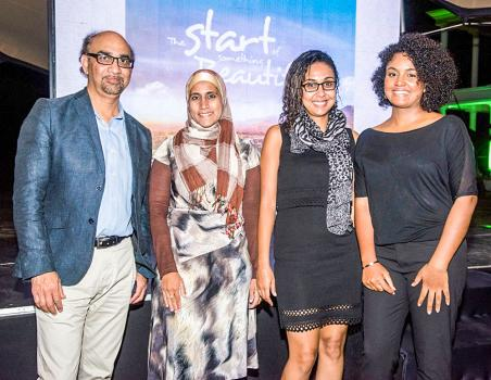Percy Kamanah, managing partner and director, Saffiyah Edoo, senior public relations executive, Emilie Ponen, marketing executive, tous les trois d'Advantedge Public Relations, et Marie Jane Narain.