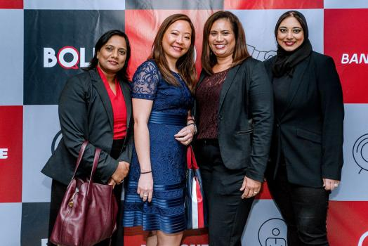Priscilla Mutty, Head of Human Resources, Kareen Ng, Company Secretary, Valerie Duval, Head of Legal and Regulatory Affairs, Chamimah Motala, Manager, Strategic Planning and Coordination, toutes de Bank One.
