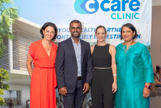 Hélène Echevin, Executive Chairperson du groupe C-Care, Anand Cyparsade, Senior Project Executive pour le groupe Mont Choisy, Hélène Cassan, Executive Project Manager à la C-Care Clinic Grand Baie La Croisette, et Jyoti Jeetun.